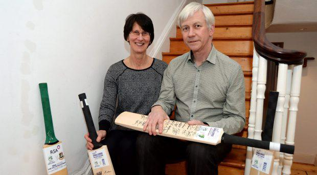 Derek and Sara Dockrell, parents of Irish international cricketer George Dockrell, with some of his cricket bats at their home in Rathgar, Dublin. Picture: Caroline Quinn