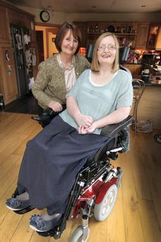 Sharon Friel and her mother, Margaret (lt) at their Donabate home yesterday