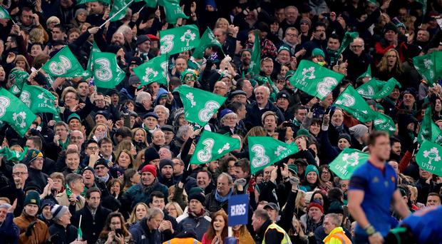 Ireland fans celebrate victory at the final whistle following their 18-11 win over France