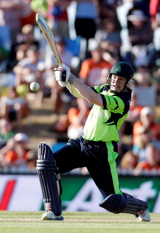 Ireland's Niall O'Brien plays a shot against the West Indies in their Cricket World Cup match in Nelson