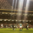 Ian Madigan prepares to slot over his penalty against France