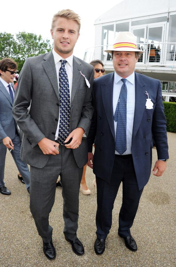 Lord George Milford Haven (R) and Harry Wentworth-Stanley attend Ladies Day at Glorious Goodwood held at Goodwood Racecourse on August 2, 2012 in Chichester, England.