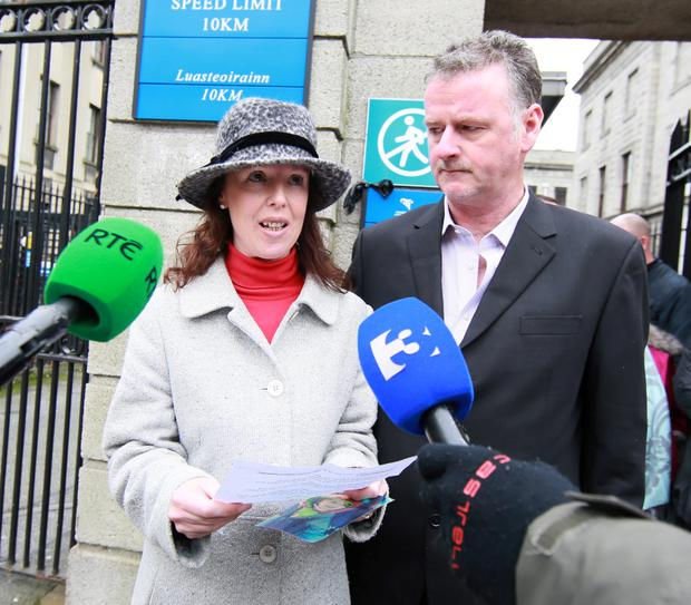 Colleen and Kevin Worthington, of Clounsharragh, Cloghane, Castlegregory, Co. Kerry pictured speaking to the media outside the Four Court after a High Court settlement for damages of €2.5Million on behalf of their daughter, Skye.Pic: Collins Courts