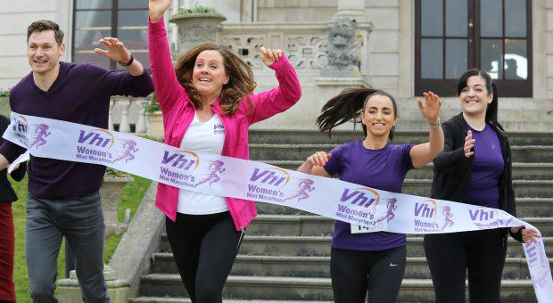 Pictured at a Press Reception to launch of The 2015 Womens Mini Marathon at The Radisson Blu Hotel, Stillorgan Rd yesterday were; Athlete David Gillick, DJ's, Ruth Scott and Louise Heraghty, with, Comedian Maeve Higgins.