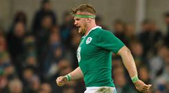 Ireland's Jamie Heaslip leaves the pitch after picking up an injury