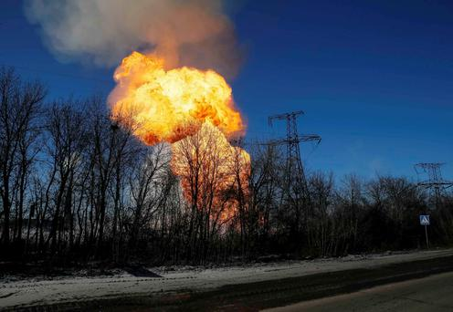 A view of an explosion after shelling is seen not far from Debaltseve