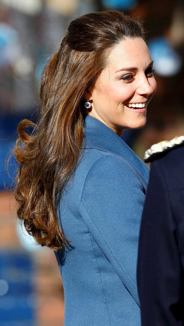 Britain's Catherine, Duchess of Cambridge, arrives to visit the Emma Bridgwater factory in Stoke-on-Trent