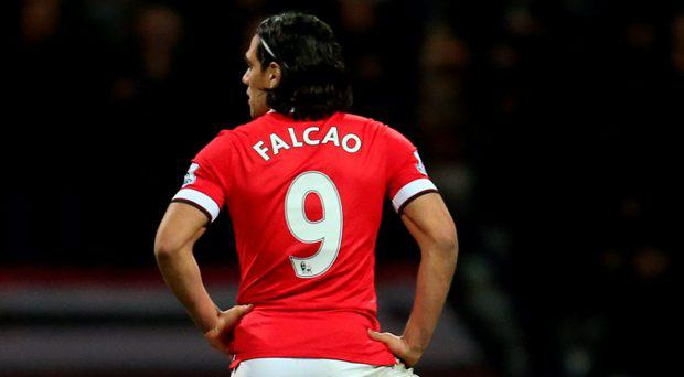 Manchester United's Radamel Falcao looks dejected