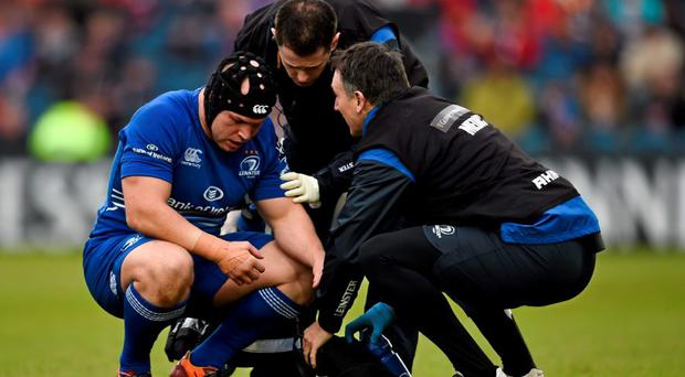 Richardt Strauss, Leinster, after picking up a knock against the Dragons on Sunday