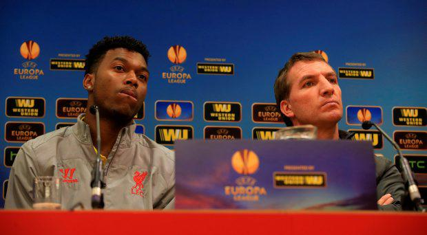 Liverpool's Daniel Sturridge with Liverpool manager Brendan Rodgers