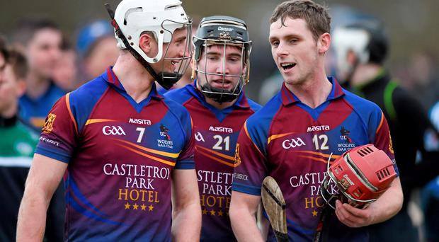 18 February 2015; UL players, all from Tipperary, from left to right, Brian Stapleton, Bill Maher, and Tommy Heffernan in conversation after victory over UCD. Independent.ie Fitzgibbon Cup Quarter-Final, UL v UCD. University of Limerick, Limerick. Picture credit: Diarmuid Greene / SPORTSFILE