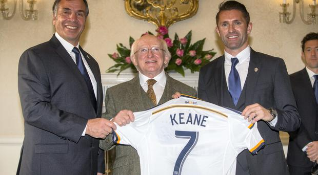 Footballer Robbie Keane, Coach Bruce Arena and LA Galaxy team mates meets President Michael D. Higgins at a reception in ?ras an Uachtar?in this evening. Pic: Mark Condren 18.2.2015