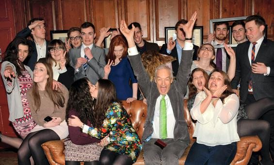 Channel 4 News anchor Jon Snow receives the Gold Medal of Honorary Patronage from Trinity College Philosophical Society at Trinity College, Dublin