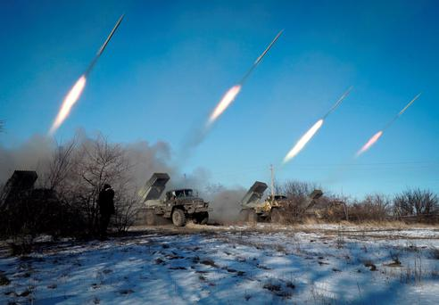 Pro-Russian rebels in the eastern Ukrainian city of Gorlivka, Donetsk region, launching missiles yesterday