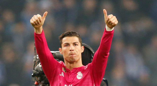 Real Madrid's Cristiano Ronaldo gives thumb-up after winning 2-0 during the Champions League round of 16 first leg soccer match between FC Schalke 04 and Real Madrid
