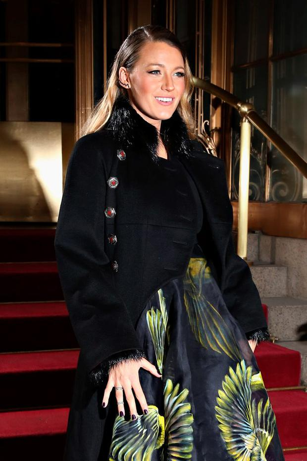 Actress Blake Lively leaves the Marchesa fashion show during Mercedes-Benz Fashion Week Fall 2015 at St. Regis Hotel