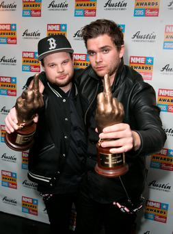 Ben Thatcher (left) and Mike Kerr of Royal Blood after winning the Best New Band and Best Live Band awards at the NME Awards 2015 with Austin, Texas at the O2 Brixton Academy, London.