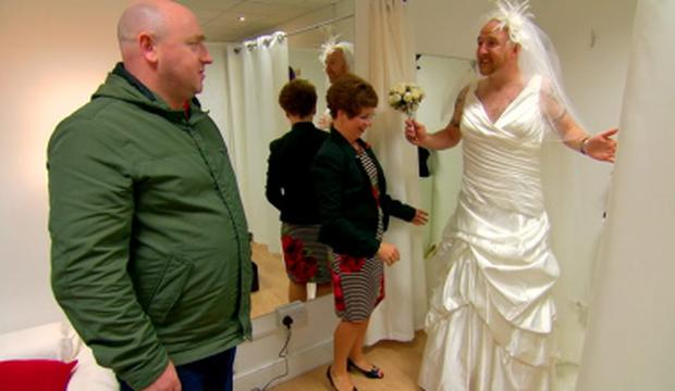 Richie Byrne tries on his fiancee's wedding dress in RTE's Don't Tell the Bride