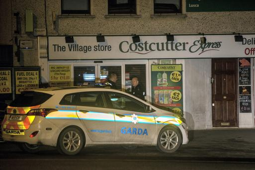Gardai at the Village Store in Lusk just after its was robbed last night. Pic:Mark Condren 19.2.2015