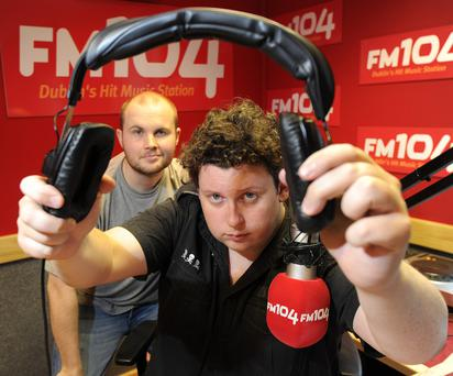 FM 104 radio presenters, Jim Jim Nugent, left and Mark noble presenters of the Strawberry Alarm Clock