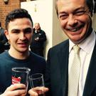 Joshua Parsons and UKIP leader Nigel Farage