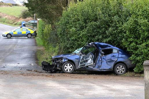 Car crash involving a tractor on the Oulart to Blackwater road Picture: Patrick Browne