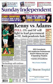 Last week's Sunday Independent front page