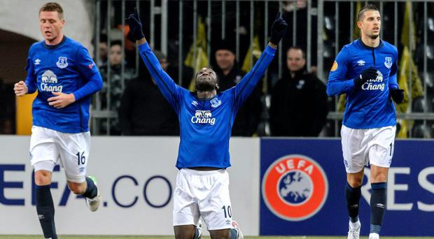 Romelu Lukaku (C) celebrates after scoring his team's first goal against BCS Young-Boys in the Europa League.