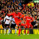 Liverpool's Mario Balotelli scores the only goal of the game from the penalty spot during the UEFA Europa League Round of 32 match against Besiktas at Anfield.