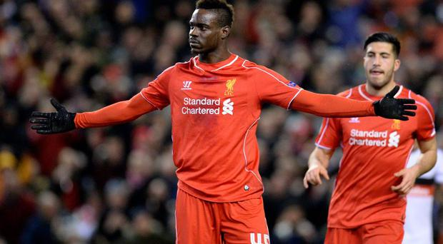 Liverpool's Mario Balotelli celebrates the only goal of the game from the penalty spot during the UEFA Europa League Round of 32 match against Besiktas at Anfield.