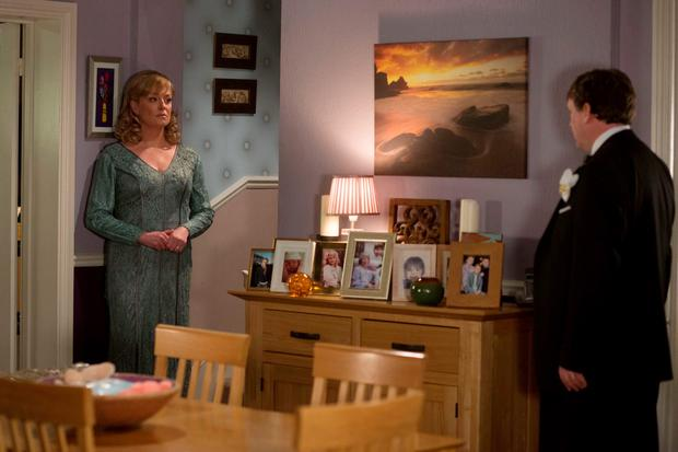 Ian Beale, played by Adam Woodyatt, asks his wife Jane, played by Laurie Brett, what happened when his daughter Lucy died during tonight's episode of the BBC One soap EastEnders