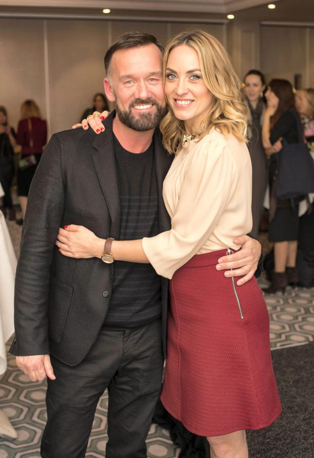 Brendan Courtney & Kathryn Thomas pictured at the Lennon Courtney & Loulerie showcase Spring/Summer collections at the Grafton Suite, Westbury Hotel. Photo: Anthony Woods