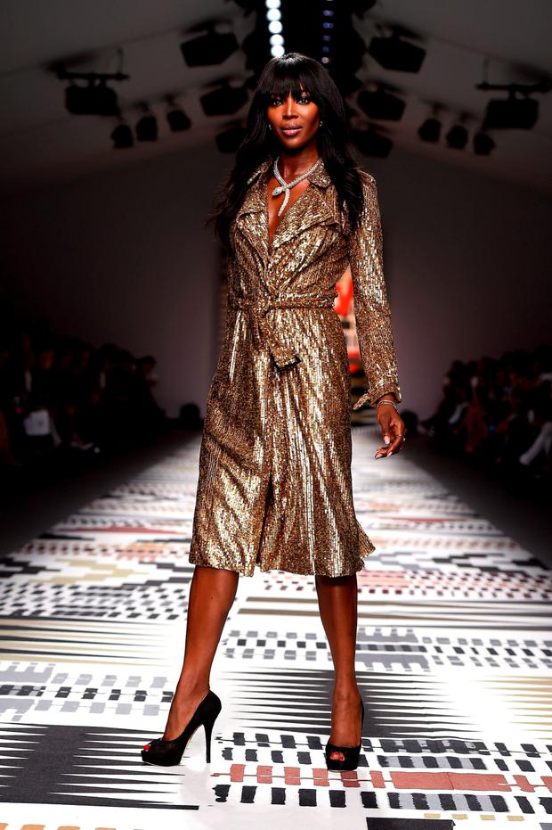 Naomi Campbell walks the runway at the Fashion For Relief charity fashion show to kick off London Fashion Week Fall/Winter 2015/16