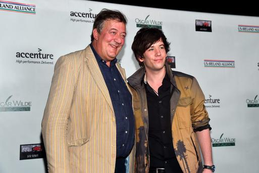 SANTA MONICA, CA - FEBRUARY 19: Comedians Stephen Fry (L) and Elliott Spencer attend the US-Ireland Aliiance's Oscar Wilde Awards event at J.J. Abrams' Bad Robot on February 19, 2015 in Santa Monica, California. (Photo by Alberto E. Rodriguez/Getty Images for US-IRELAND ALLIANCE)