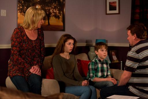 Ian tells a devastated Cindy and Bobby about Lucy. Jane Beale (LAURIE BRETT), Cindy Williams (MIMI KEENE), Bobby Beale (RORY STROUD), Ian Beale (ADAM WOODYATT) - (C) BBC - Photographer: Jack Barnes