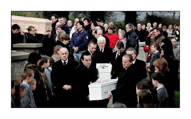 The funeral of Sharon Whelan and her two children Zsara and Nadia