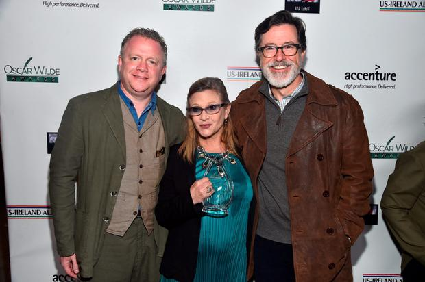 Honorees Colin Davidson, Carrie Fisher and Stephen Colbert attend the US-Ireland Aliiance's Oscar Wilde Awards event at J.J. Abrams' Bad Robot on February 19, 2015 in Santa Monica, California. Photo by Alberto E. Rodriguez/Getty Images