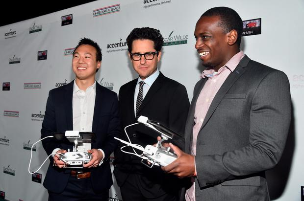 Prior Mitchell Scholar Recipient YJ Heo, Host J.J. Abrams and Mason Smith attend the US-Ireland Aliiance's Oscar Wilde Awards event at J.J. Abrams' Bad Robot on February 19, 2015 in Santa Monica, California