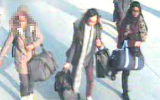 The girls, all pupils at Bethnal Green Academy in east London, on CCTV at Gatwick Airport Photo: Met Police