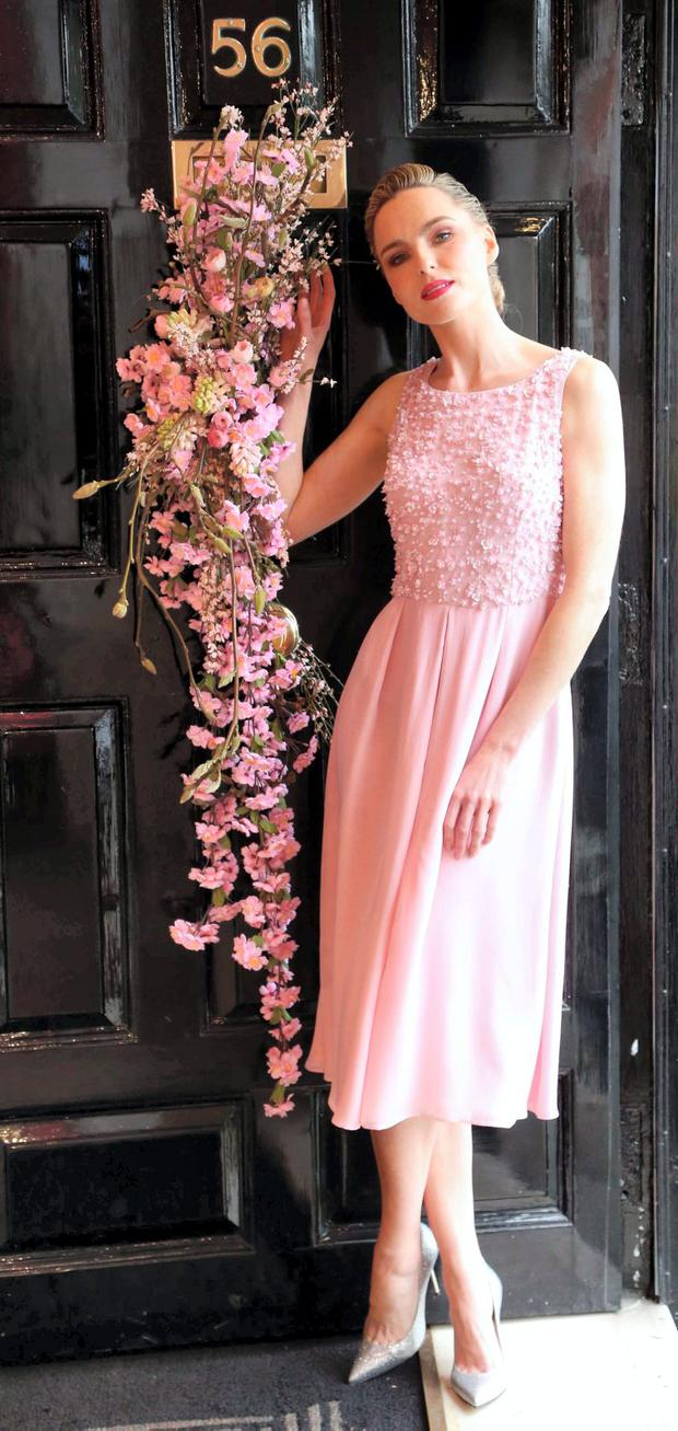 74cf16b9d487 Sarah Morrissey wears a Fabine Blossom Silk Georgette Dress with petal  encrusted bodice (bespoke)