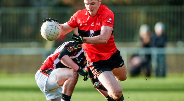20 February 2015; David Culhane, UCC, in action against Marcus Mangan, IT Carlow. Independent.ie Sigerson Cup, Semi-Final, UCC v IT Carlow. Mardyke, Cork. Picture credit: Matt Browne / SPORTSFILE