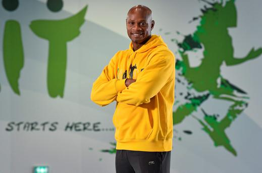 Asafa Powell, from Jamaica, who will be competing in the men's 60m, during the sold-out second AIT International Arena Grand Prix