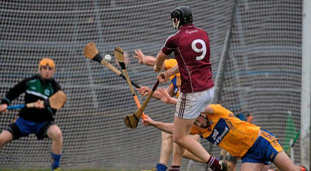 Joseph Cooney scores for Galway during their defeat of Clare in the opening round of the Allianz NHL
