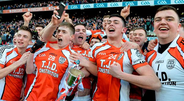 Brosna players celebrate winning the All-Ireland Junior Club Championship Final