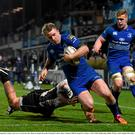 Luke Fitzgerald, Leinster, goes over to scores his side's third try despite the tackle of Samuela Vunisa, Zebre. Guinness PRO12, Round 15, Leinster v Zebre. RDS, Ballsbridge, Dublin. Picture credit: Stephen McCarthy / SPORTSFILE