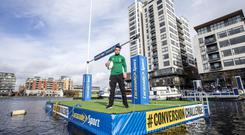 Conor Murray took part in the Lucozade Sport Conversion Challenge at Grand Canal Dock, Dublin