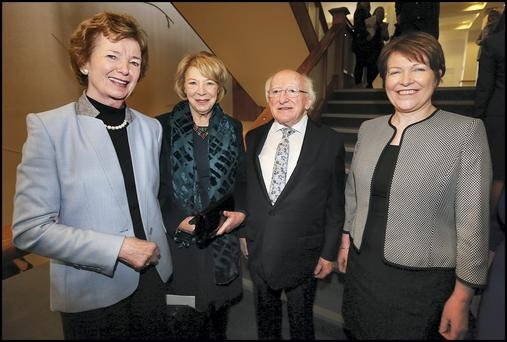 Former President Mary Robinson with current President Michael D Higgins and his wife Sabina. Photo: Steve Humpreys