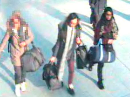 A still taken from CCTV issued by the Metropolitan Police of an un-named 15-year-old, Kadiza Sultana,16 and Shamima Begum,15 at Gatwick airport, they are feared to have travelled to Syria via Turkey