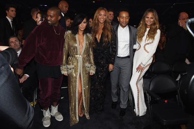 West, Kim Kardashian and Beyonce with John Legend and model Chrissy Teigen at The 57th Annual GRAMMY Awards