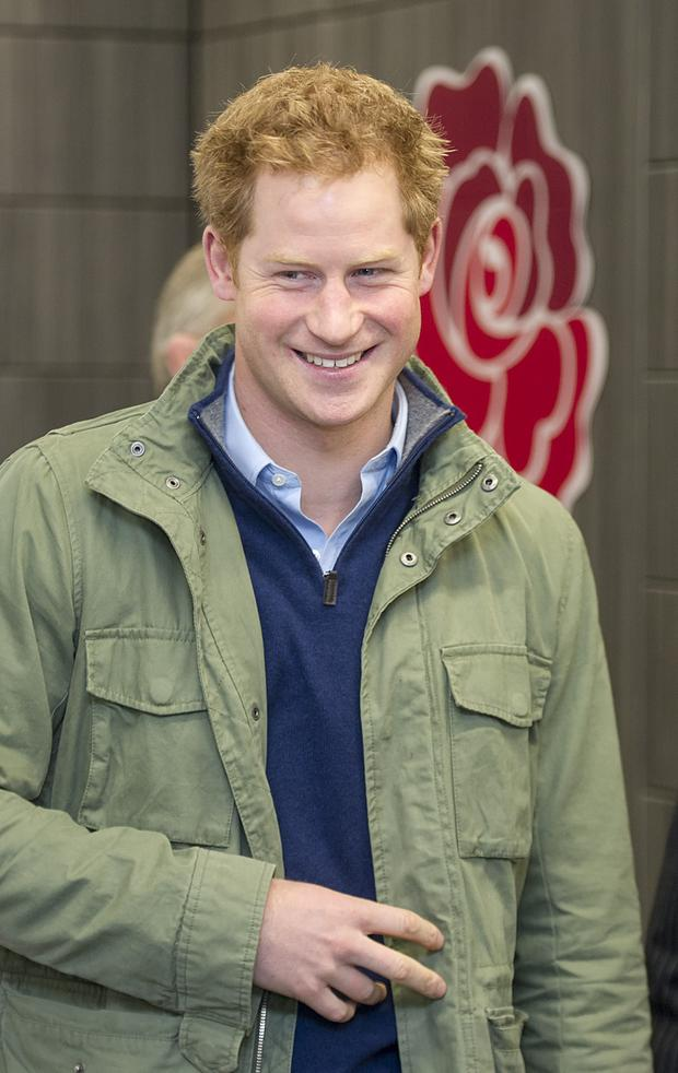 Prince Harry attends a training session for RFU
